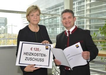 Heizkostenzuschuss von 120 Euro: Landesrätin Mag. Barbara Schwarz und Landesrat Ing. Maurice Androsch (v.l.n.r.)