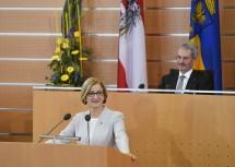 Landeshauptfrau Johanna Mikl-Leitner bei der Regierungserklärung nach ihrer Wiederwahl.