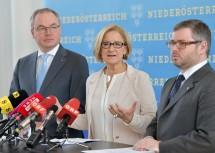 Bei der Pressekonferenz:  LH-Stellvertreter Stephan Pernkopf, Landeshauptfrau Johanna Mikl-Leitner und Landesrat Ludwig Schleritzko (von links nach rechts).