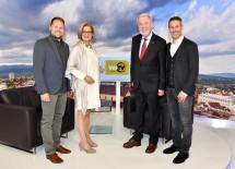 WNTV Neu-Start: WNTV-Geschäftsführer Bernd Großmann,  Landeshauptfrau Johanna Mikl-Leitner, Bürgermeister Klaus Schneeberger und WNTV-Geschäftsführer Erich Lehner (v.l.n.r.)